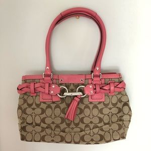 Coach Signature Satchel with Pink Leather Details